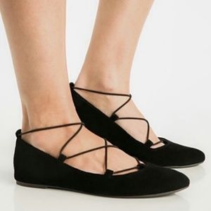 Lucky Brand Shoes - LUCKY BRAND Eaviee Lace Up Ballet Flats Black